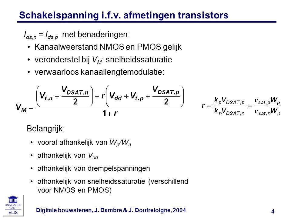 Digitale bouwstenen, J. Dambre & J. Doutreloigne, 2004 4 Schakelspanning i.f.v. afmetingen transistors I ds,n = I ds,p met benaderingen: Kanaalweersta