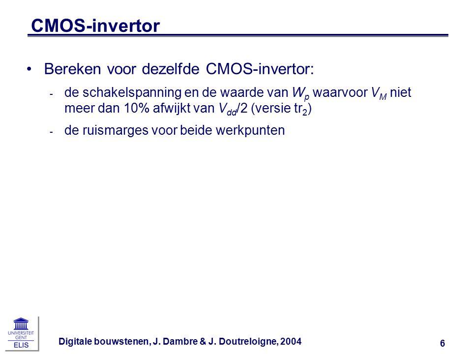Digitale bouwstenen, J. Dambre & J. Doutreloigne, 2004 6 CMOS-invertor Bereken voor dezelfde CMOS-invertor: ‑ de schakelspanning en de waarde van W p
