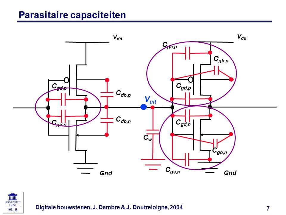 Digitale bouwstenen, J. Dambre & J. Doutreloigne, 2004 7 Parasitaire capaciteiten Gnd V dd C db,p C db,n C gd,p C gd,n Gnd V dd C gd,p C gs,n C gd,n C