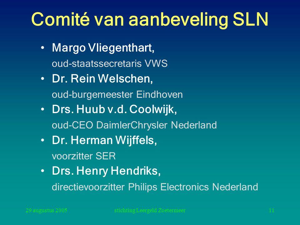 29 augustus 2005stichting Leergeld Zoetermeer11 Comité van aanbeveling SLN Margo Vliegenthart, oud-staatssecretaris VWS Dr. Rein Welschen, oud-burgeme