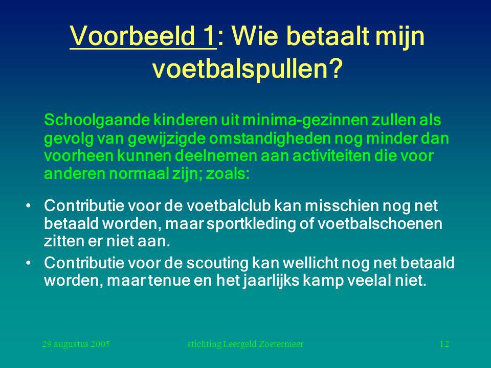 29 augustus 2005stichting Leergeld Zoetermeer12 Voorbeeld 1: Wie betaalt mijn voetbalspullen? Schoolgaande kinderen uit minima-gezinnen zullen als gev