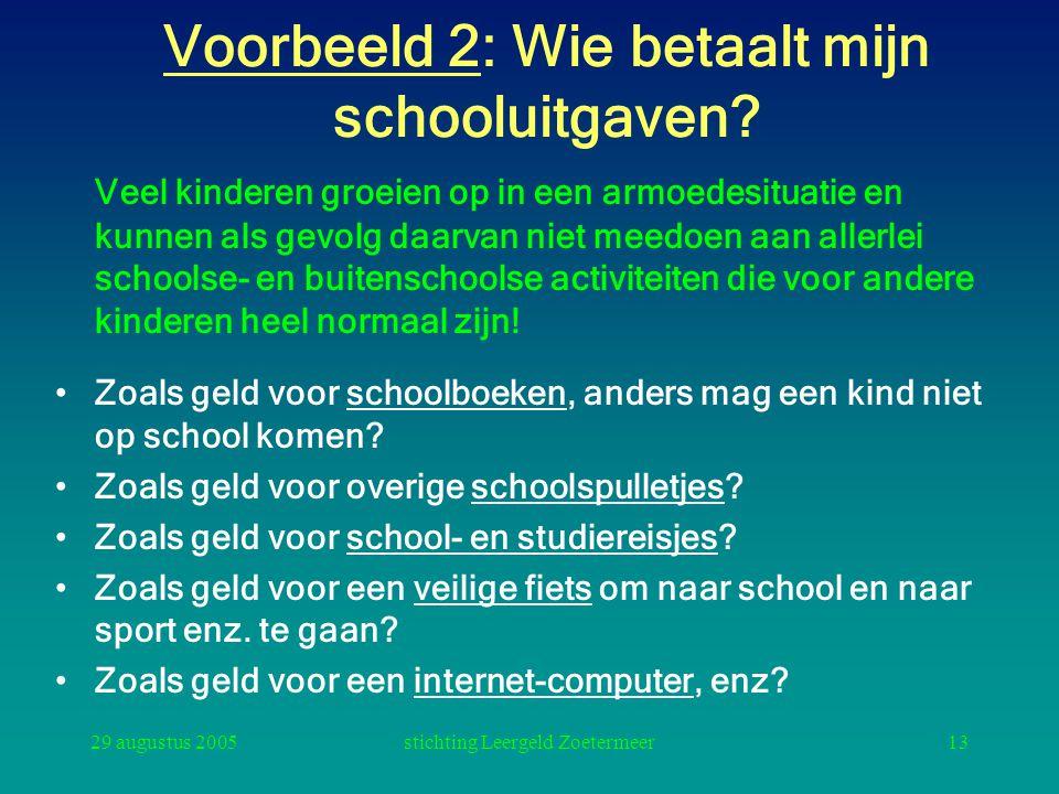 29 augustus 2005stichting Leergeld Zoetermeer13 Voorbeeld 2: Wie betaalt mijn schooluitgaven? Veel kinderen groeien op in een armoedesituatie en kunne