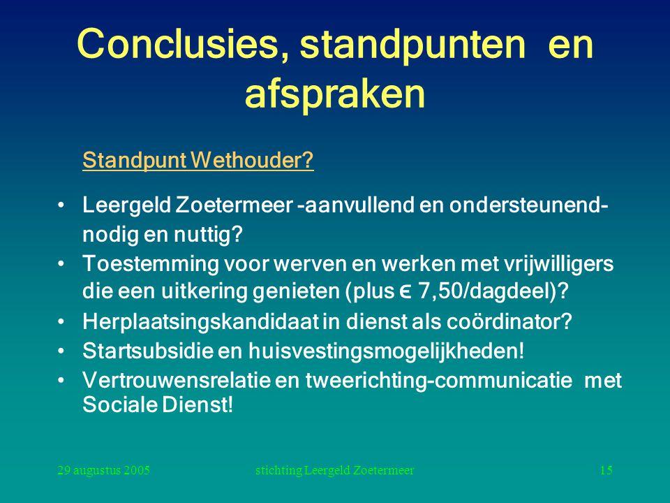 29 augustus 2005stichting Leergeld Zoetermeer15 Conclusies, standpunten en afspraken Standpunt Wethouder? Leergeld Zoetermeer -aanvullend en ondersteu