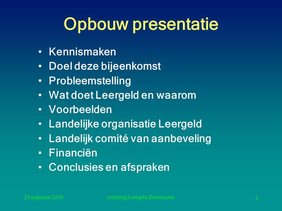 29 augustus 2005stichting Leergeld Zoetermeer2 Opbouw presentatie Kennismaken Doel deze bijeenkomst Probleemstelling Wat doet Leergeld en waarom Voorb