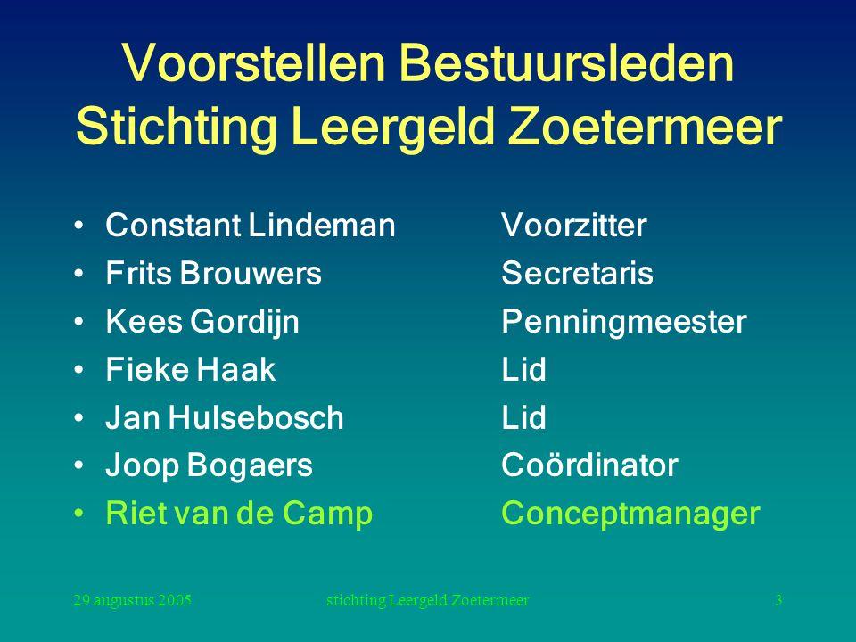 29 augustus 2005stichting Leergeld Zoetermeer3 Voorstellen Bestuursleden Stichting Leergeld Zoetermeer Constant LindemanVoorzitter Frits BrouwersSecre