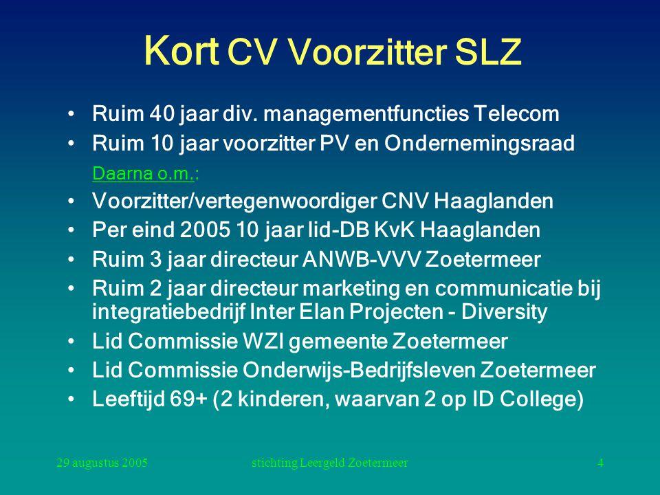 29 augustus 2005stichting Leergeld Zoetermeer4 Kort CV Voorzitter SLZ Ruim 40 jaar div. managementfuncties Telecom Ruim 10 jaar voorzitter PV en Onder