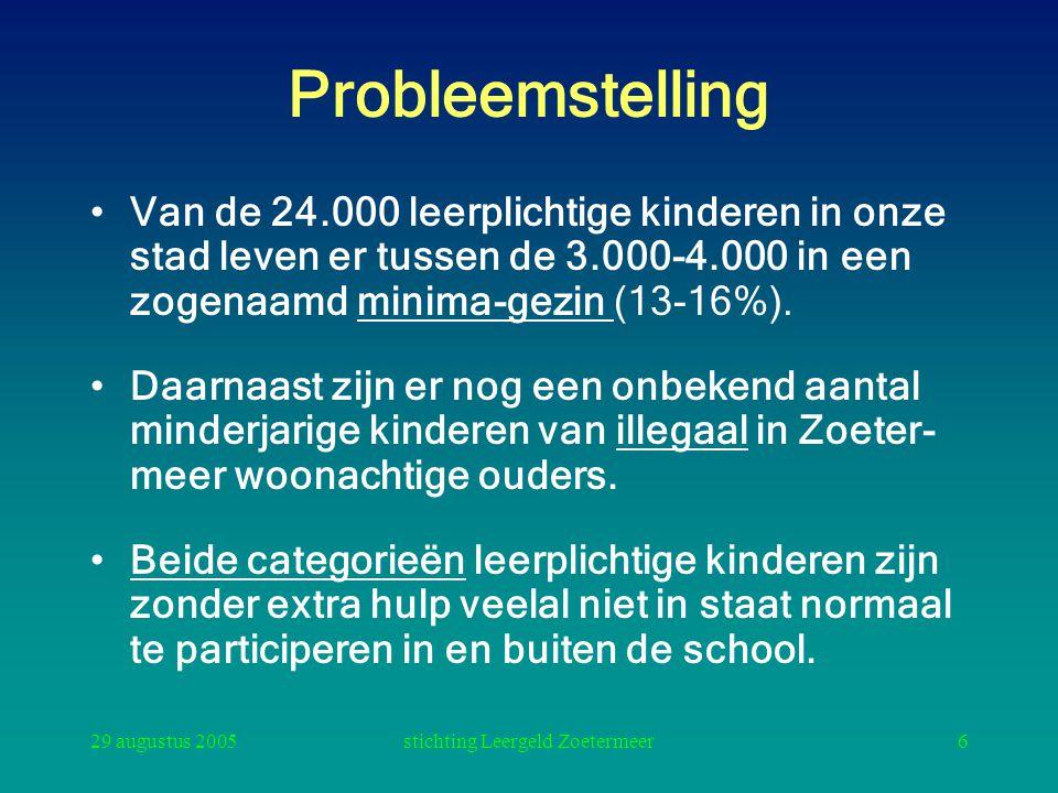 29 augustus 2005stichting Leergeld Zoetermeer6 Probleemstelling Van de 24.000 leerplichtige kinderen in onze stad leven er tussen de 3.000-4.000 in ee