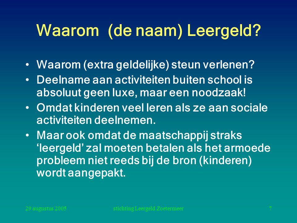 29 augustus 2005stichting Leergeld Zoetermeer8 Rol Stichting Leergeld Leergeld ijvert voor het voorkomen dat schoolgaande kinderen uit minima gezinnen ten gevolge van armoede niet kunnen deelnemen aan het sociaal-maatschappelijke leven op en rond de school.