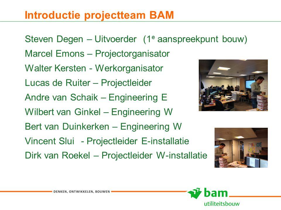 Introductie projectteam BAM Steven Degen – Uitvoerder (1 e aanspreekpunt bouw) Marcel Emons – Projectorganisator Walter Kersten - Werkorganisator Luca