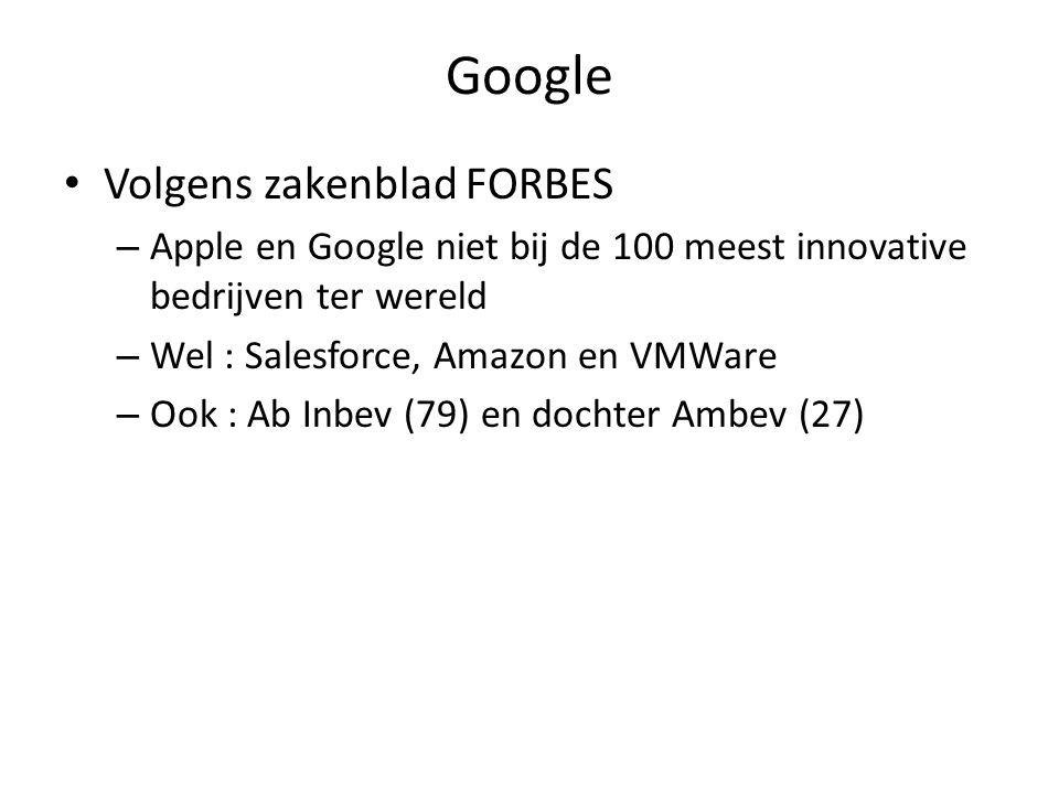 Google Volgens zakenblad FORBES – Apple en Google niet bij de 100 meest innovative bedrijven ter wereld – Wel : Salesforce, Amazon en VMWare – Ook : Ab Inbev (79) en dochter Ambev (27)