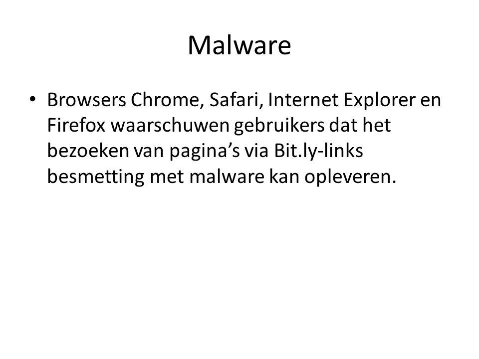 Malware Browsers Chrome, Safari, Internet Explorer en Firefox waarschuwen gebruikers dat het bezoeken van pagina's via Bit.ly-links besmetting met malware kan opleveren.