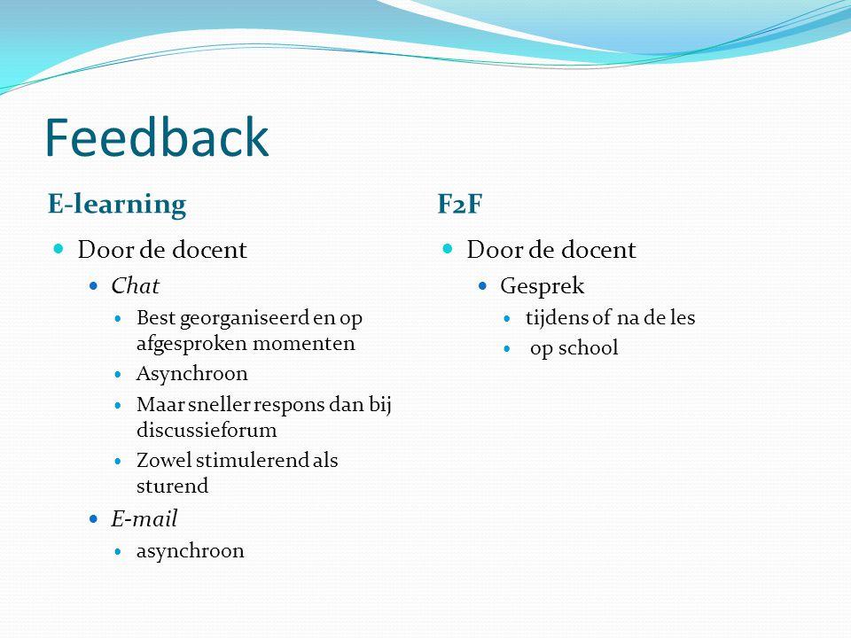 Feedback E-learning F2F Door de docent Chat Best georganiseerd en op afgesproken momenten Asynchroon Maar sneller respons dan bij discussieforum Zowel stimulerend als sturend E-mail asynchroon Door de docent Gesprek tijdens of na de les op school