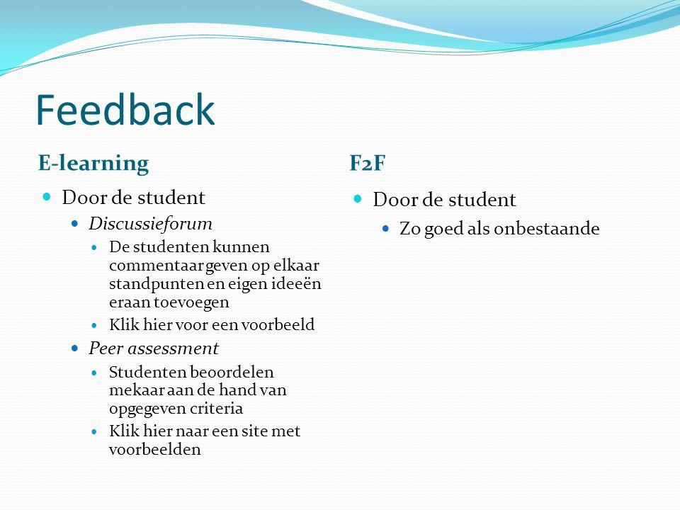 Feedback E-learning F2F Door de student Discussieforum De studenten kunnen commentaar geven op elkaar standpunten en eigen ideeën eraan toevoegen Klik hier voor een voorbeeld Peer assessment Studenten beoordelen mekaar aan de hand van opgegeven criteria Klik hier naar een site met voorbeelden Door de student Zo goed als onbestaande
