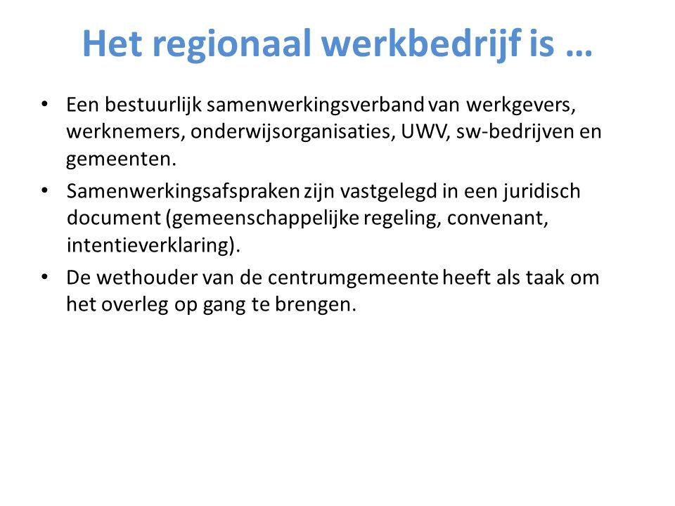 Het regionaal werkbedrijf is … Een bestuurlijk samenwerkingsverband van werkgevers, werknemers, onderwijsorganisaties, UWV, sw-bedrijven en gemeenten.