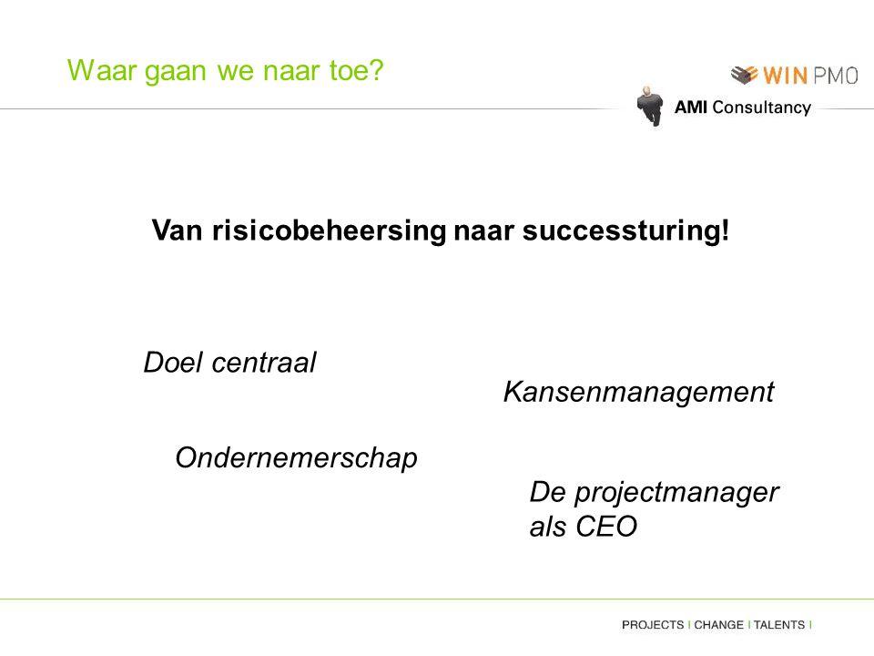 Waar gaan we naar toe? Van risicobeheersing naar successturing! Doel centraal Kansenmanagement Ondernemerschap De projectmanager als CEO