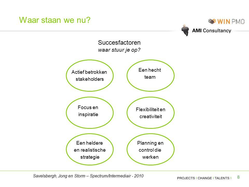 8 Succesfactoren waar stuur je op? Actief betrokken stakeholders Flexibiliteit en creativiteit Een heldere en realistische strategie Planning en contr