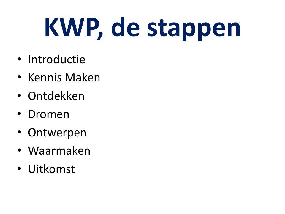 KWP, de stappen Introductie Kennis Maken Ontdekken Dromen Ontwerpen Waarmaken Uitkomst