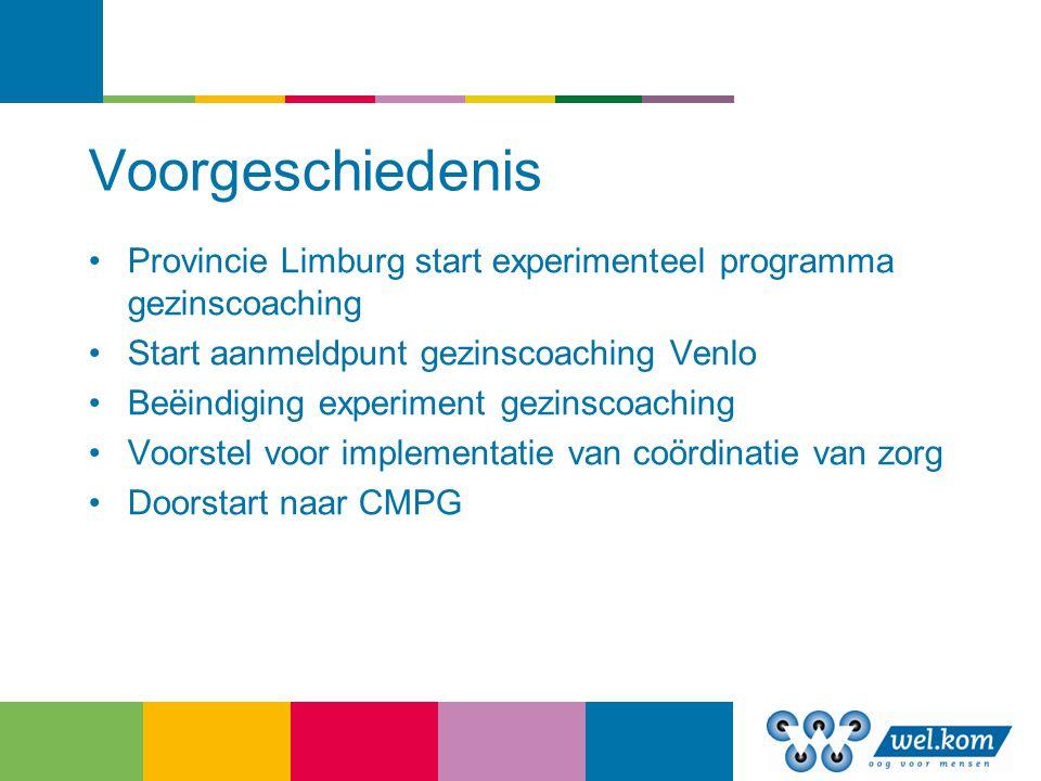 Voorgeschiedenis Provincie Limburg start experimenteel programma gezinscoaching Start aanmeldpunt gezinscoaching Venlo Beëindiging experiment gezinsco