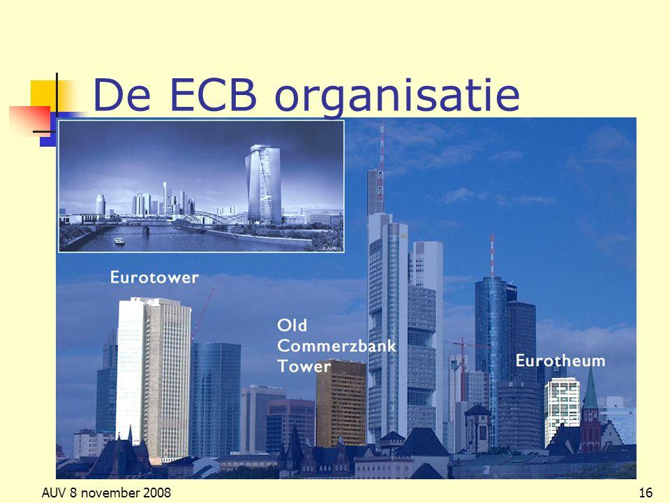 AUV 8 november 200816 De ECB organisatie