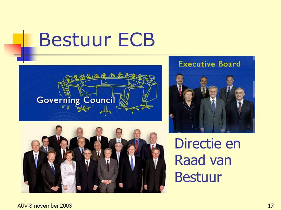 AUV 8 november 200817 Bestuur ECB Directie en Raad van Bestuur