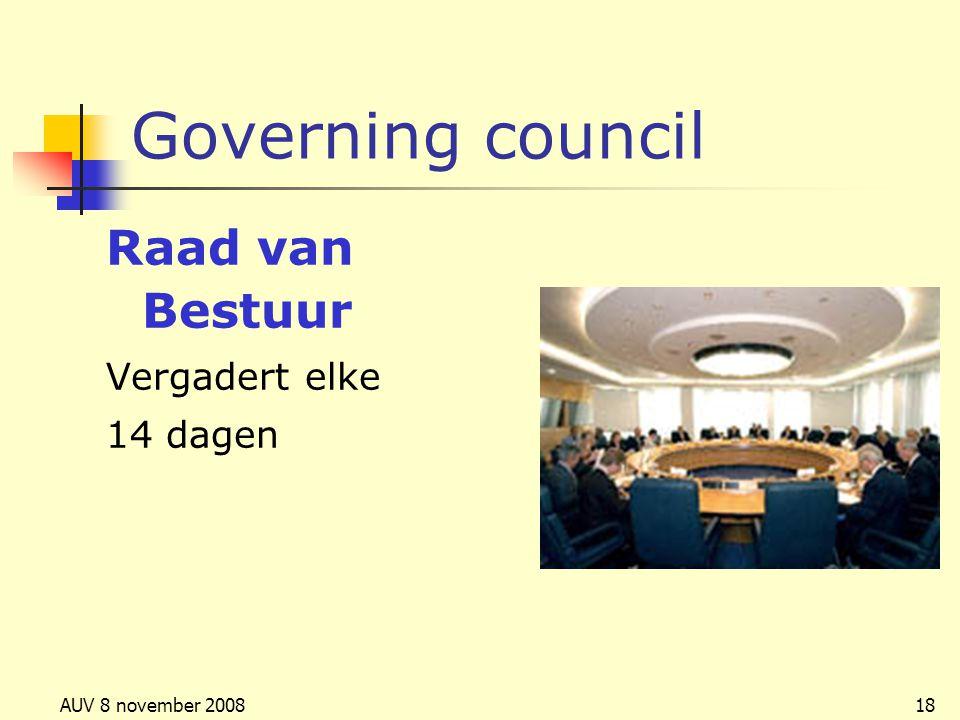 AUV 8 november 200818 Governing council Raad van Bestuur Vergadert elke 14 dagen