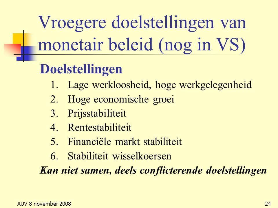 AUV 8 november 200824 Vroegere doelstellingen van monetair beleid (nog in VS) Doelstellingen 1.Lage werkloosheid, hoge werkgelegenheid 2.Hoge economis