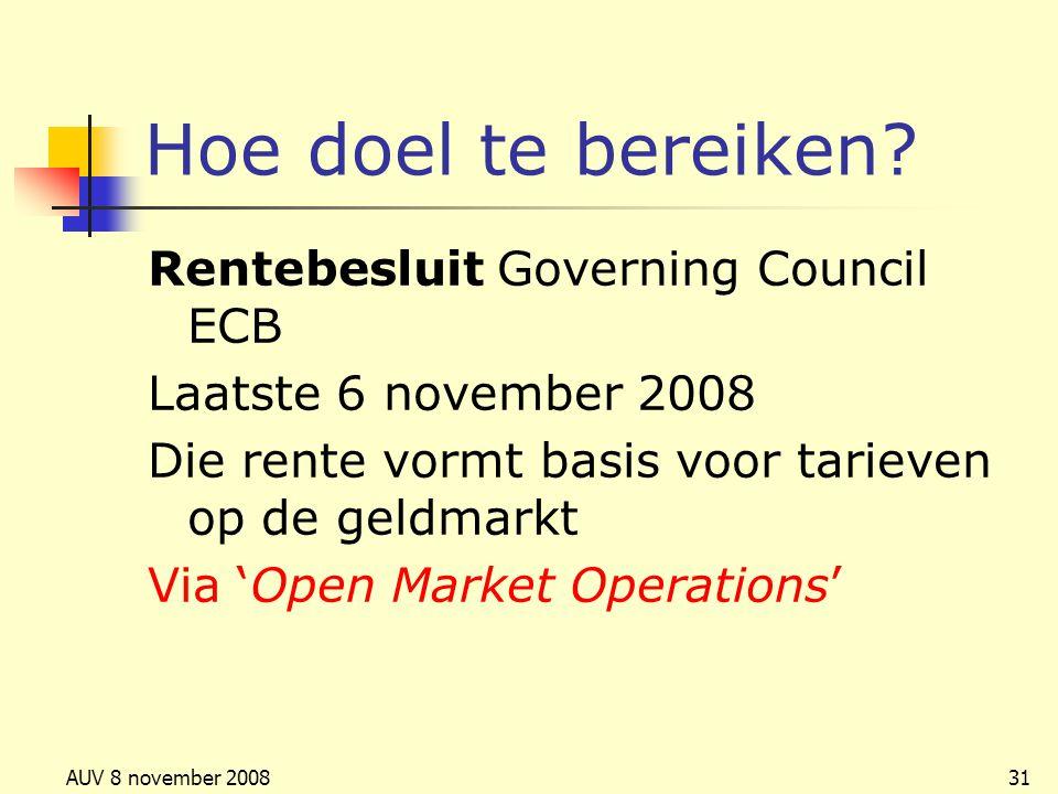 AUV 8 november 200831 Hoe doel te bereiken? Rentebesluit Governing Council ECB Laatste 6 november 2008 Die rente vormt basis voor tarieven op de geldm