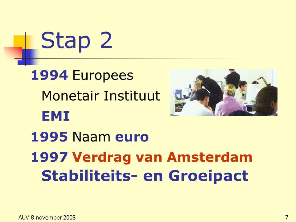 AUV 8 november 20087 Stap 2 1994 Europees Monetair Instituut EMI 1995 Naam euro 1997 Verdrag van Amsterdam Stabiliteits- en Groeipact