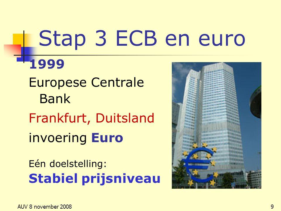AUV 8 november 20089 Stap 3 ECB en euro 1999 Europese Centrale Bank Frankfurt, Duitsland invoering Euro Eén doelstelling: Stabiel prijsniveau