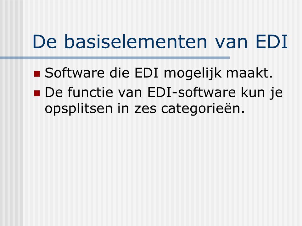 De basiselementen van EDI De functie van EDI-software Primair: conversie van bestanden Integreren van gegevens van een inkomend bericht in een bedrijfstoepassing.