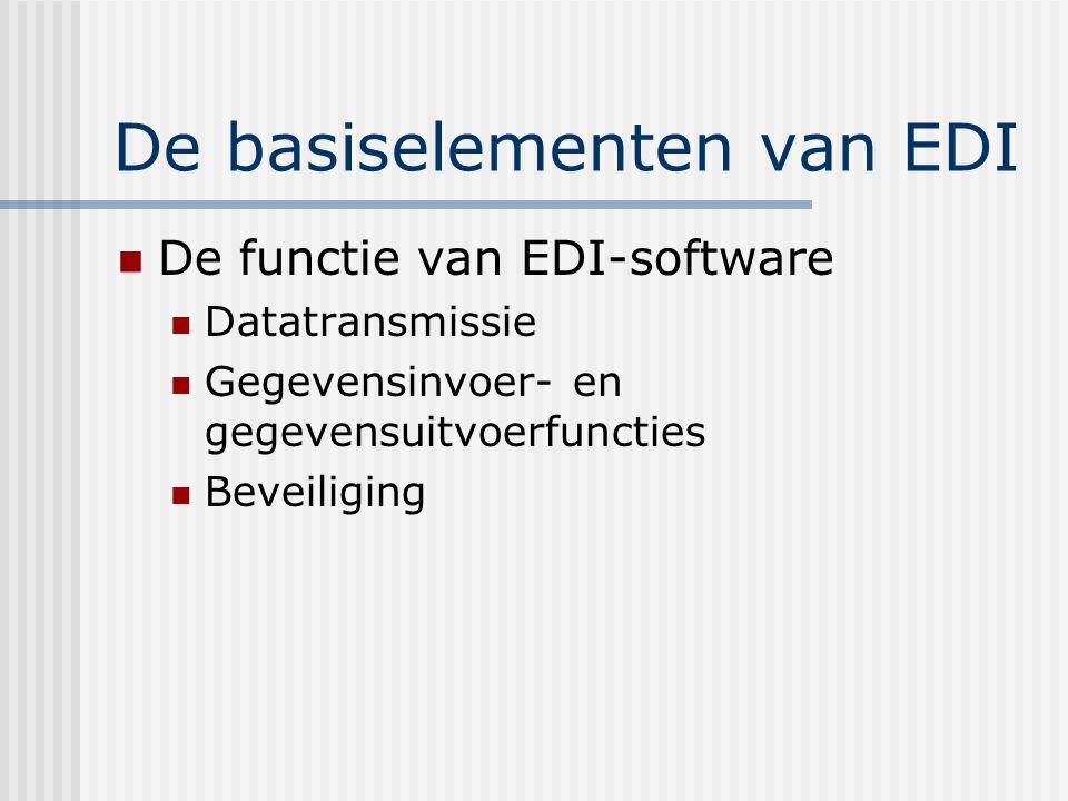 De basiselementen van EDI Datatransmissie en netwerken Via het internet VAN – value added network Publieke telefoonlijn XML-standaard
