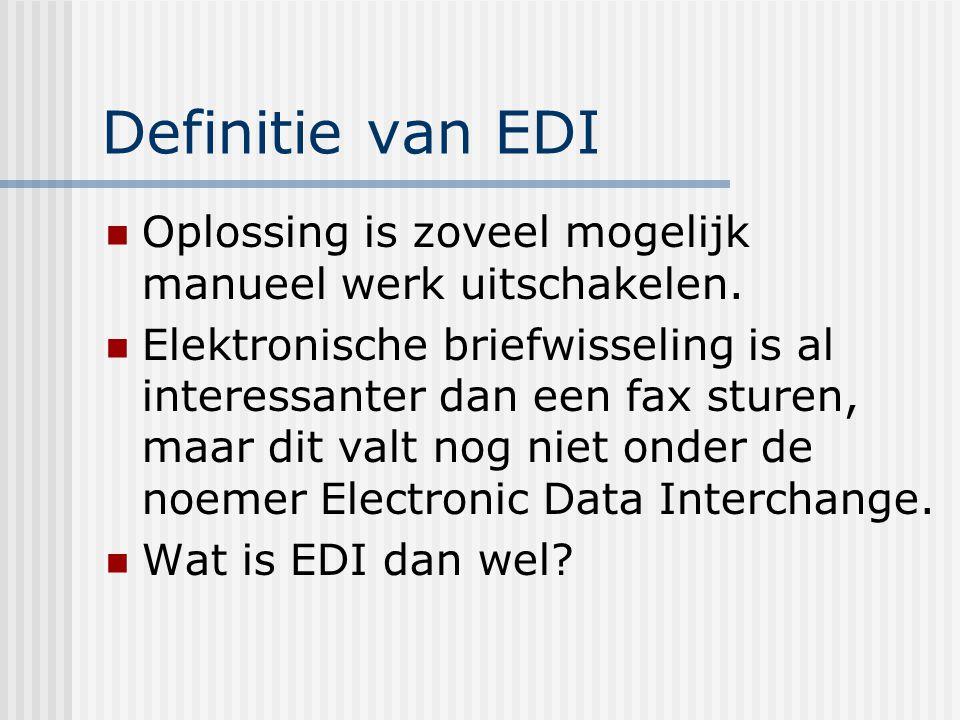 Definitie van EDI EDI is de gestandaardiseerde gegevensuitwisseling tussen computersystemen van verschillende partners.
