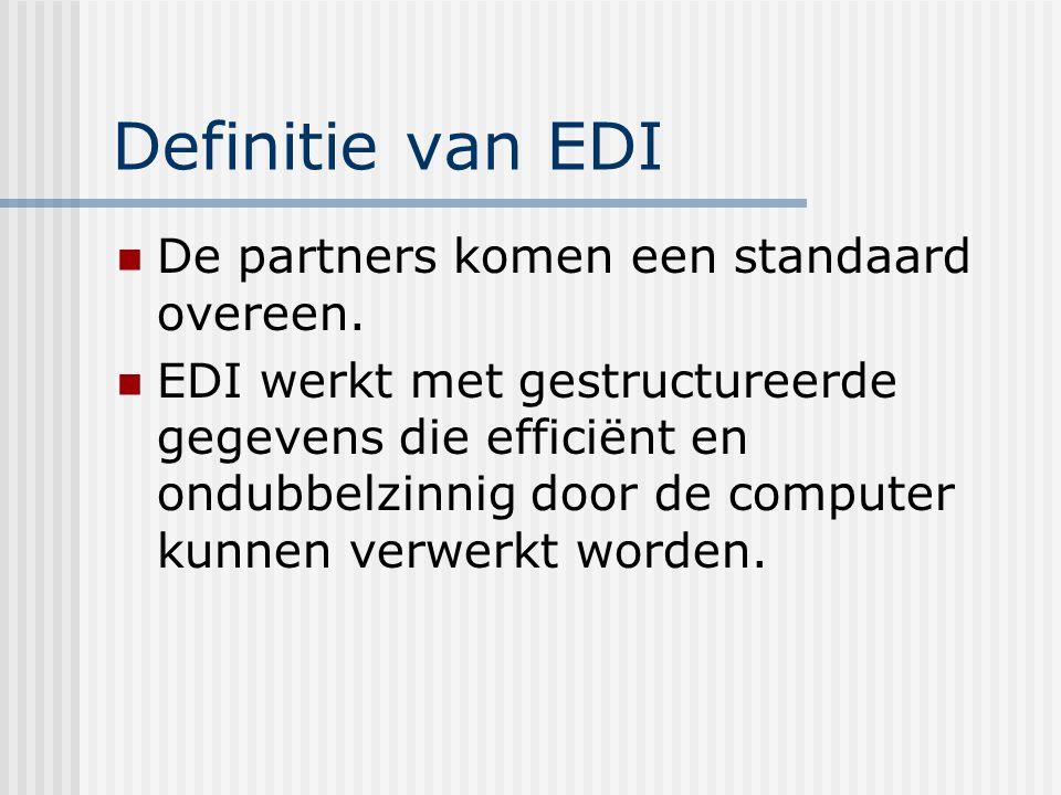 Definitie van EDI Standaard: gegevens die computersystemen met mekaar uitwisselen moeten herkenbaar zijn naar inhoud, betekenis en opmaak.