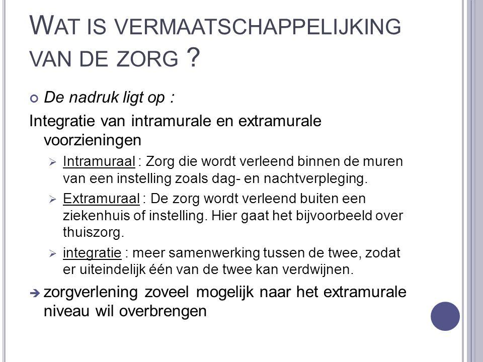 W AAROM VERM ' YKING VAN DE ZORG .