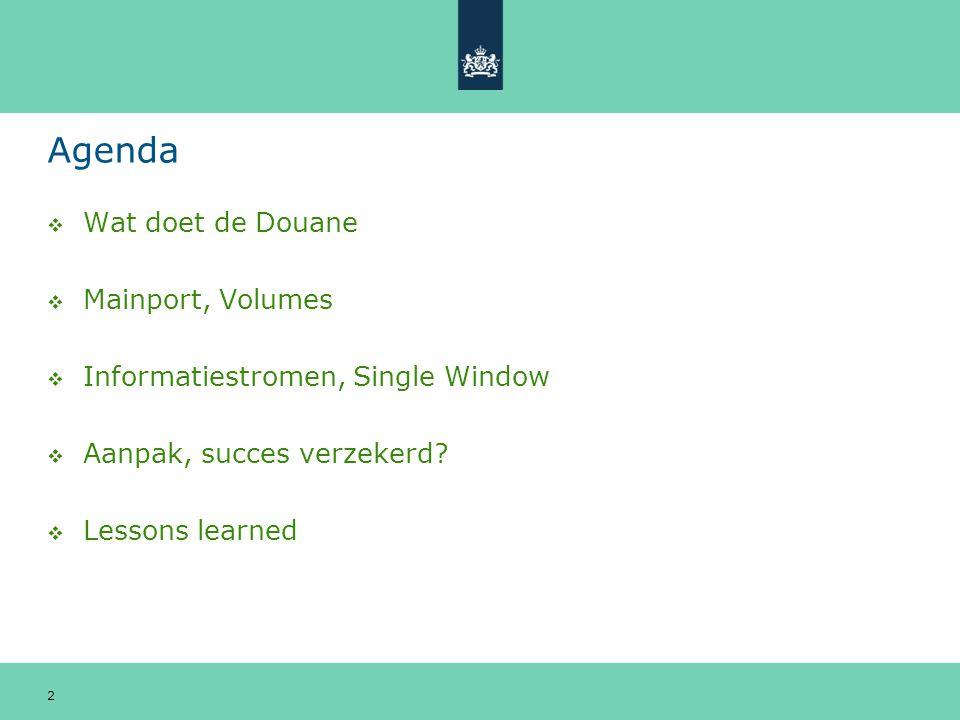 Agenda  Wat doet de Douane  Mainport, Volumes  Informatiestromen, Single Window  Aanpak, succes verzekerd?  Lessons learned 2