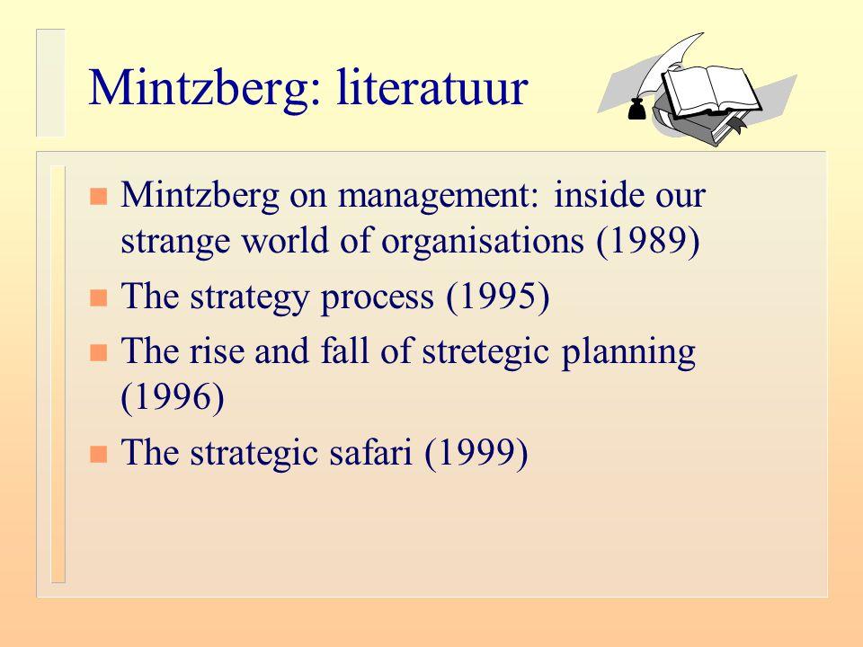 Mintzberg: literatuur n Mintzberg on management: inside our strange world of organisations (1989) n The strategy process (1995) n The rise and fall of stretegic planning (1996) n The strategic safari (1999)