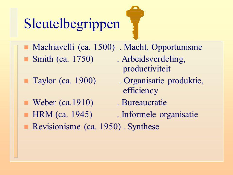 Sleutelbegrippen n Machiavelli (ca. 1500). Macht, Opportunisme n Smith (ca. 1750). Arbeidsverdeling, productiviteit n Taylor (ca. 1900). Organisatie p