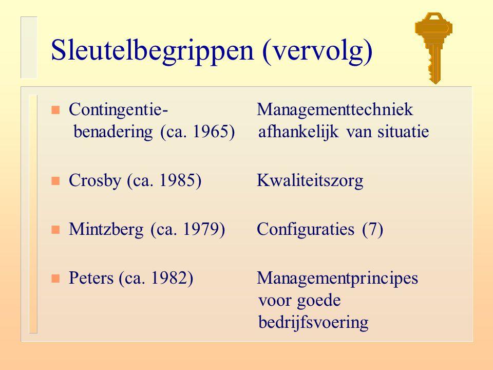 Sleutelbegrippen (vervolg) n Contingentie- Managementtechniek benadering (ca. 1965) afhankelijk van situatie n Crosby (ca. 1985) Kwaliteitszorg n Mint
