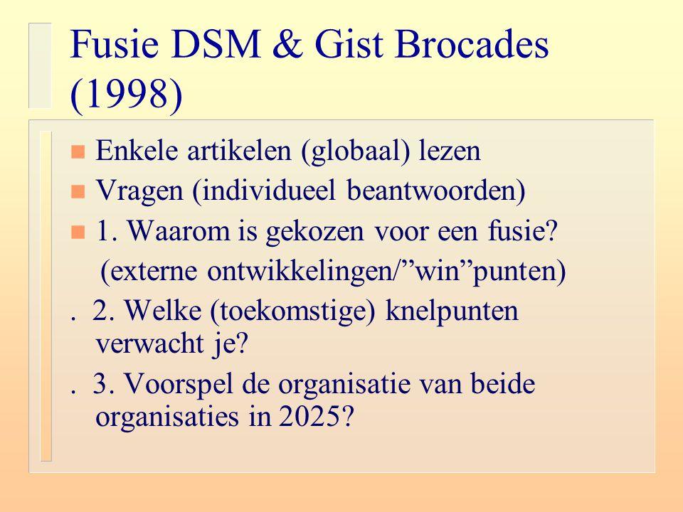 Fusie DSM & Gist Brocades (1998) n Enkele artikelen (globaal) lezen n Vragen (individueel beantwoorden) n 1. Waarom is gekozen voor een fusie? (extern