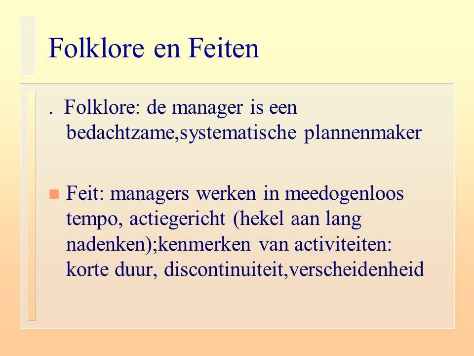 Folklore en Feiten n Folklore: de effectieve manager verricht geen vaste werkzaamheden n Feiten: managementswerk kent vele vaste verplichtingen (rituelen, plichtsplegingen)