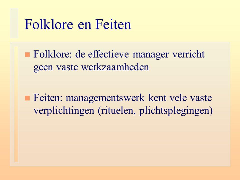 Folklore en Feiten n Folklore: de effectieve manager verricht geen vaste werkzaamheden n Feiten: managementswerk kent vele vaste verplichtingen (ritue