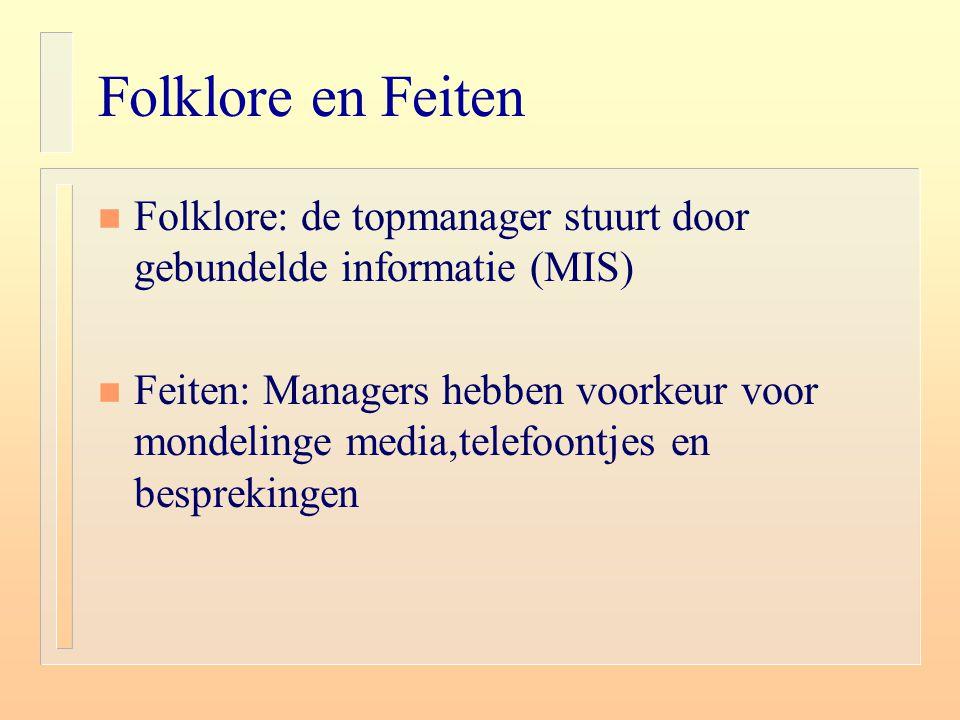 Folklore en Feiten n Folklore: de topmanager stuurt door gebundelde informatie (MIS) n Feiten: Managers hebben voorkeur voor mondelinge media,telefoon