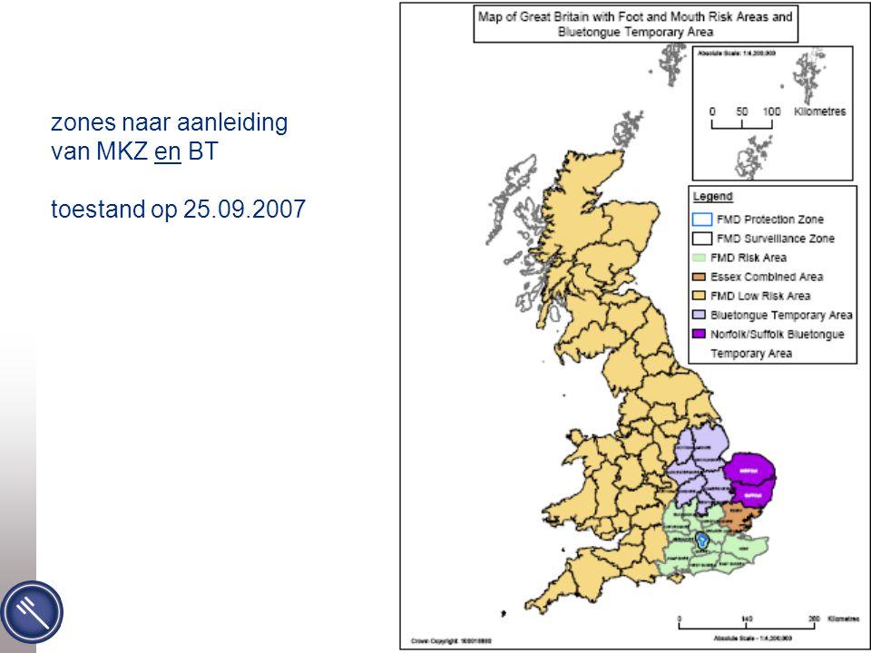 Federaal Agentschap voor de Veiligheid van de Voedselketen zones naar aanleiding van MKZ en BT toestand op 25.09.2007