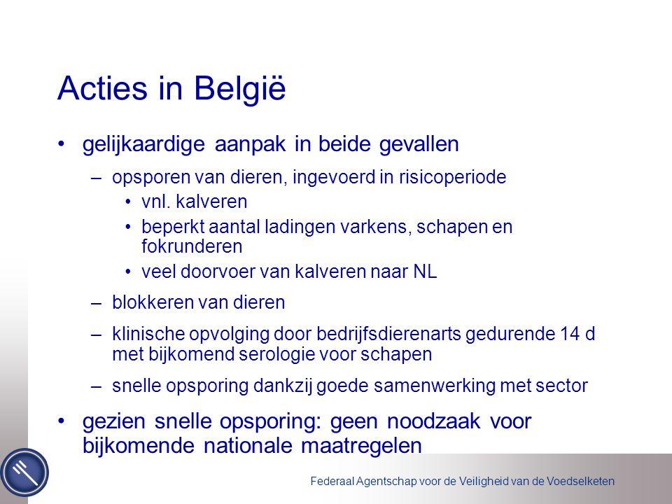 Federaal Agentschap voor de Veiligheid van de Voedselketen Acties in België gelijkaardige aanpak in beide gevallen –opsporen van dieren, ingevoerd in risicoperiode vnl.