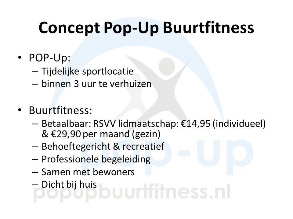Concept Pop-Up Buurtfitness POP-Up: – Tijdelijke sportlocatie – binnen 3 uur te verhuizen Buurtfitness: – Betaalbaar: RSVV lidmaatschap: €14,95 (individueel) & €29,90 per maand (gezin) – Behoeftegericht & recreatief – Professionele begeleiding – Samen met bewoners – Dicht bij huis