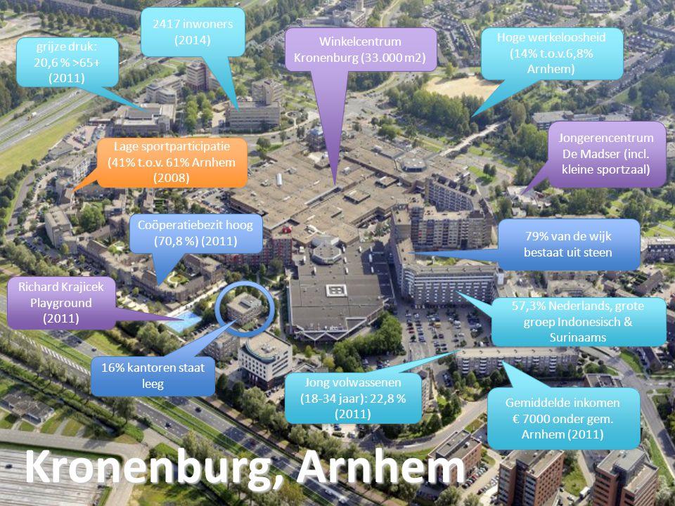 Kronenburg, Arnhem 2417 inwoners (2014) grijze druk: 20,6 % >65+ (2011) grijze druk: 20,6 % >65+ (2011) Hoge werkeloosheid (14% t.o.v.6,8% Arnhem) Gemiddelde inkomen € 7000 onder gem.