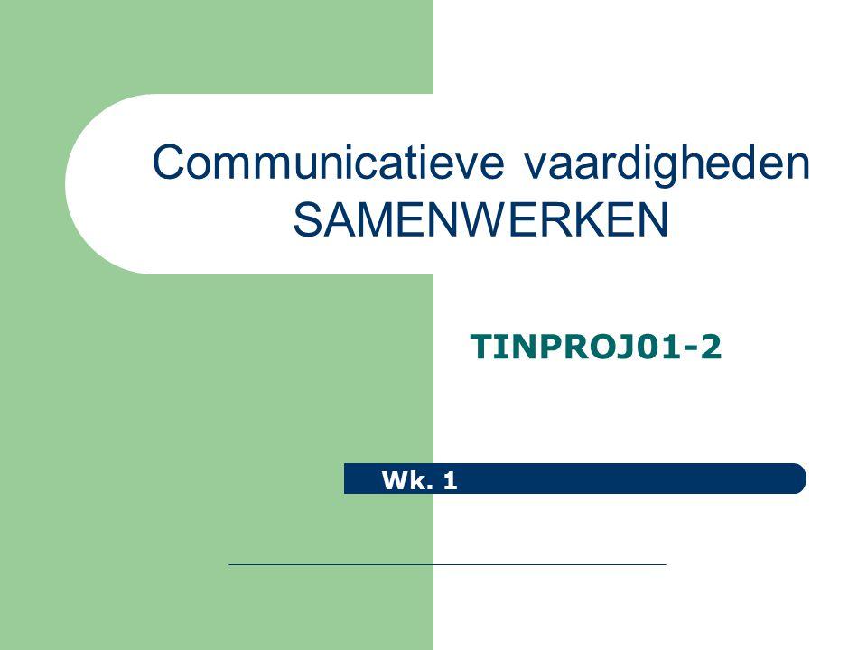 TINPROJ01-2 Wk. 1 Communicatieve vaardigheden SAMENWERKEN