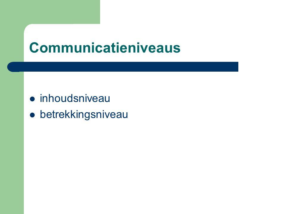 Communicatieniveaus inhoudsniveau betrekkingsniveau