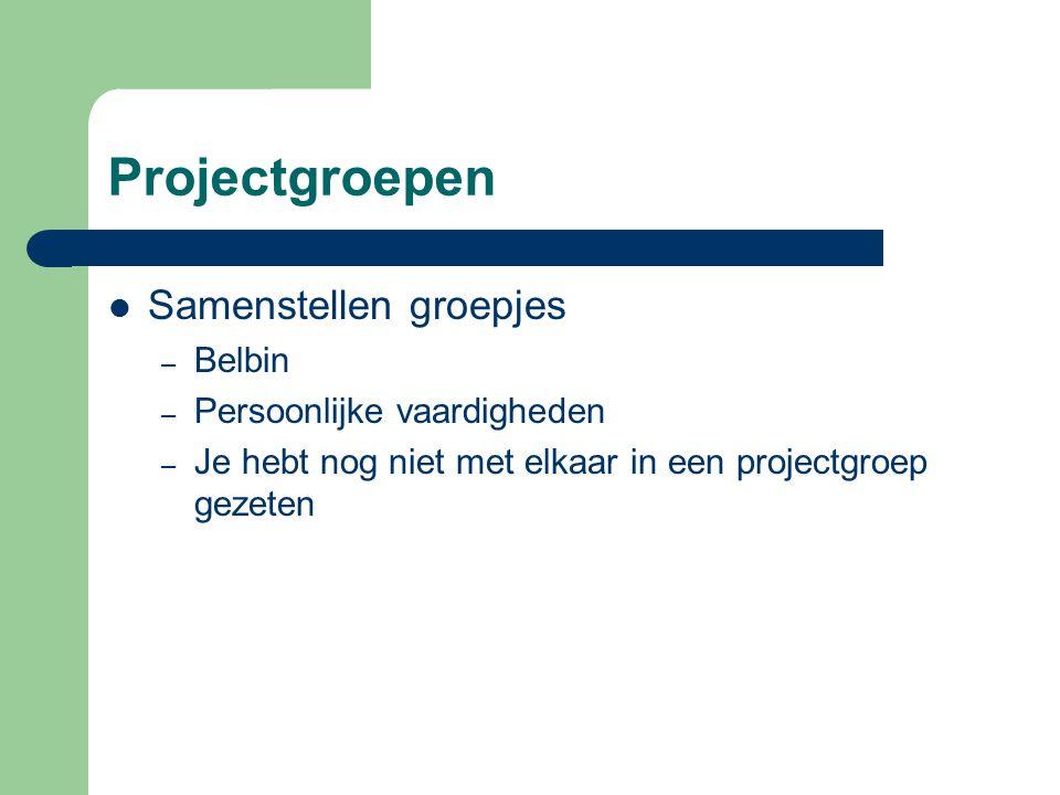 Projectgroepen Samenstellen groepjes – Belbin – Persoonlijke vaardigheden – Je hebt nog niet met elkaar in een projectgroep gezeten