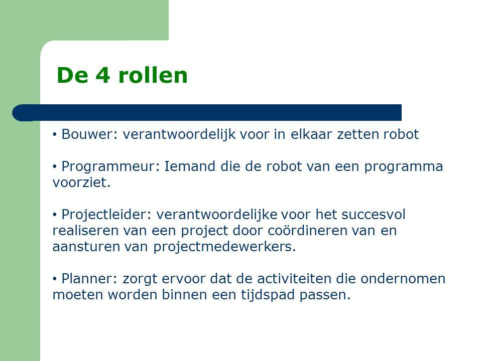 Bouwer: verantwoordelijk voor in elkaar zetten robot Programmeur: Iemand die de robot van een programma voorziet. Projectleider: verantwoordelijke voo